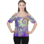 Sea Shell Spiral, Abstract Violet Cyan Stars Women s Cutout Shoulder Tee