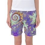Sea Shell Spiral, Abstract Violet Cyan Stars Women s Basketball Shorts