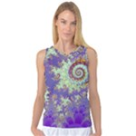 Sea Shell Spiral, Abstract Violet Cyan Stars Women s Basketball Tank Top