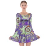 Sea Shell Spiral, Abstract Violet Cyan Stars Long Sleeve Skater Dress
