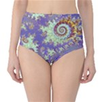 Sea Shell Spiral, Abstract Violet Cyan Stars High-Waist Bikini Bottoms