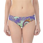 Sea Shell Spiral, Abstract Violet Cyan Stars Hipster Bikini Bottoms