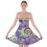 Sea Shell Spiral, Abstract Violet Cyan Stars Strapless Dresses