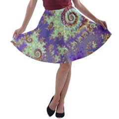 Sea Shell Spiral, Abstract Violet Cyan Stars A Line Skater Skirt by DianeClancy
