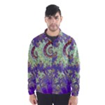 Sea Shell Spiral, Abstract Violet Cyan Stars Wind Breaker (Men)