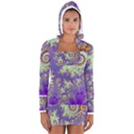 Sea Shell Spiral, Abstract Violet Cyan Stars Women s Long Sleeve Hooded T-shirt