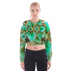 Spring Leaves, Abstract Crystal Flower Garden Women s Cropped Sweatshirt by DianeClancy
