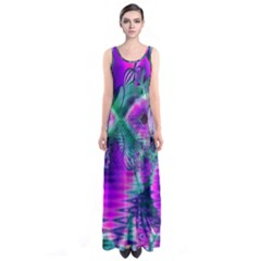 Teal Violet Crystal Palace, Abstract Cosmic Heart Full Print Maxi Dress by DianeClancy