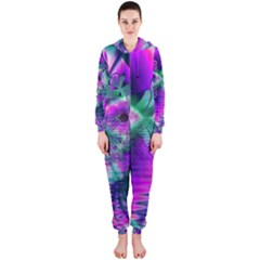 Teal Violet Crystal Palace, Abstract Cosmic Heart Hooded Jumpsuit (ladies)  by DianeClancy