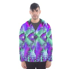Violet Peacock Feathers, Abstract Crystal Mint Green Hooded Wind Breaker (men) by DianeClancy