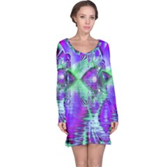 Violet Peacock Feathers, Abstract Crystal Mint Green Long Sleeve Nightdress by DianeClancy