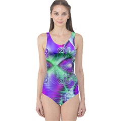 Violet Peacock Feathers, Abstract Crystal Mint Green One Piece Swimsuit by DianeClancy