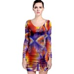 Winter Crystal Palace, Abstract Cosmic Dream (lake 12 15 13) 9900x7400 Smaller Long Sleeve Bodycon Dress