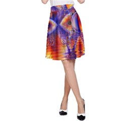Winter Crystal Palace, Abstract Cosmic Dream (lake 12 15 13) 9900x7400 Smaller A Line Skirt by DianeClancy