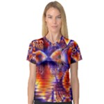 Winter Crystal Palace, Abstract Cosmic Dream (lake 12 15 13) 9900x7400 Smaller Women s V-Neck Sport Mesh Tee