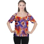 Winter Crystal Palace, Abstract Cosmic Dream (lake 12 15 13) 9900x7400 Smaller Women s Cutout Shoulder Tee
