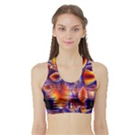 Winter Crystal Palace, Abstract Cosmic Dream (lake 12 15 13) 9900x7400 Smaller Women s Sports Bra with Border