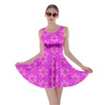 Pink Snowflakes Spinning In Winter Skater Dress