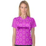 Pink Snowflakes Spinning In Winter Women s V-Neck Sport Mesh Tee