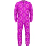 Pink Snowflakes Spinning In Winter OnePiece Jumpsuit (Men)