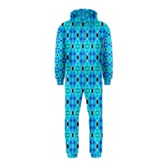 Vibrant Modern Abstract Lattice Aqua Blue Quilt Hooded Jumpsuit (kids) by DianeClancy