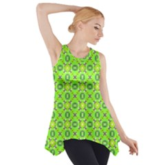 Vibrant Abstract Tropical Lime Foliage Lattice Side Drop Tank Tunic by DianeClancy