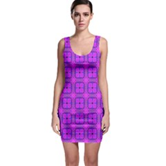Abstract Dancing Diamonds Purple Violet Sleeveless Bodycon Dress by DianeClancy