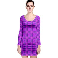 Abstract Dancing Diamonds Purple Violet Long Sleeve Bodycon Dress by DianeClancy