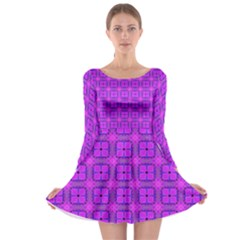 Abstract Dancing Diamonds Purple Violet Long Sleeve Skater Dress by DianeClancy