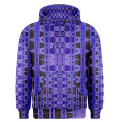 Blue Black Geometric Pattern Men s Pullover Hoodie by BrightVibesDesign