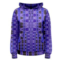 Blue Black Geometric Pattern Women s Pullover Hoodie by BrightVibesDesign