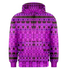 Bright Pink Black Geometric Pattern Men s Zipper Hoodie by BrightVibesDesign
