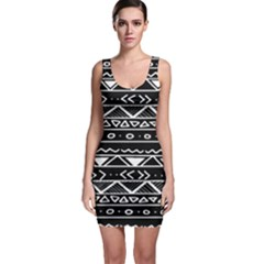 Black And White Tribal Print Sleeveless Bodycon Dress by TCH01