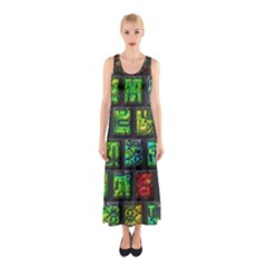 Colorful Buttons               Full Print Maxi Dress by LalyLauraFLM