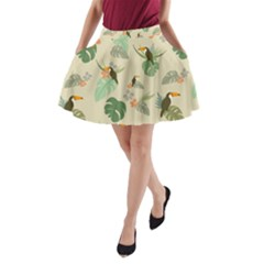 Tropical Garden Pattern A Line Pocket Skirt by TastefulDesigns