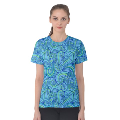 Abstract Blue Wave Pattern Women s Cotton Tee by TastefulDesigns