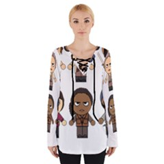 The Walking Dead   Main Characters Chibi   Amc Walking Dead   Manga Dead Women s Tie Up Tee by PTsImaginarium