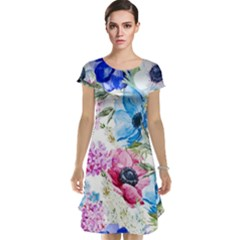 Watercolor Spring Flowers Cap Sleeve Nightdress