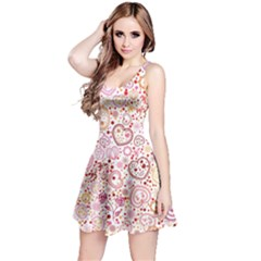 Ornamental Pattern With Hearts And Flowers  Reversible Sleeveless Dress