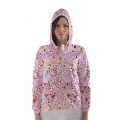 Ornamental Pattern With Hearts And Flowers  Hooded Wind Breaker (women)