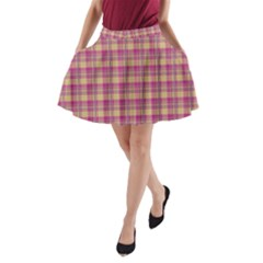 Pink Plaid Pattern A Line Pocket Skirt by TastefulDesigns
