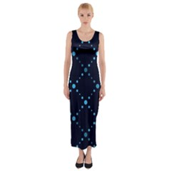 Seamless Geometric Blue Dots Pattern  Fitted Maxi Dress by TastefulDesigns