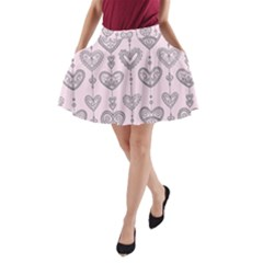 Sketches Ornamental Hearts Pattern A Line Pocket Skirt by TastefulDesigns