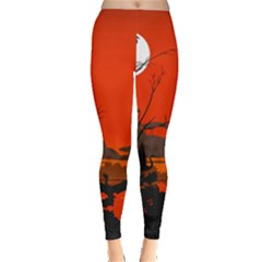 Tropical Birds Orange Sunset Landscape Leggings  by WaltCurleeArt
