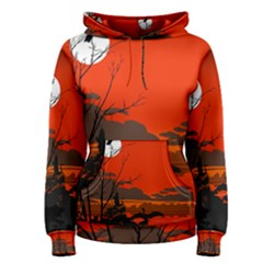 Tropical Birds Orange Sunset Landscape Women s Pullover Hoodie by WaltCurleeArt