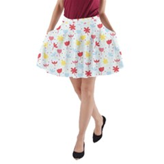 Seamless Colorful Flowers Pattern A Line Pocket Skirt by TastefulDesigns