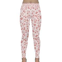 Red Seamless Floral Pattern Yoga Leggings by TastefulDesigns