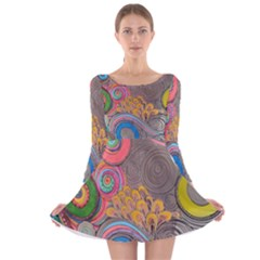 Rainbow Passion Long Sleeve Velvet Skater Dress by SugaPlumsEmporium