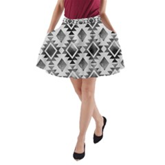 Hand Painted Black Ethnic Pattern A Line Pocket Skirt by TastefulDesigns