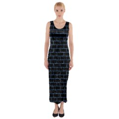 Brick1 Black Marble & Blue Marble Fitted Maxi Dress by trendistuff